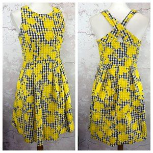 1901 Gingham PETITE Fit Flare Dress POCKETS 6P NWT